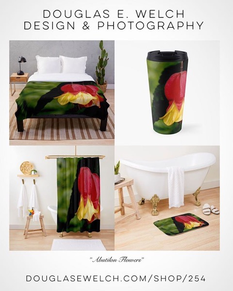 Get These Striking Red and Yellow Abutilon Flowers on Comforters, Bath Mats and More From Douglas E. Welch Design and Photography [For Sale] - My Word with Douglas E. Welch