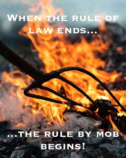 When the rule of law ends, the rule by mob begins!