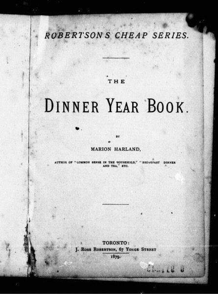 Historical Cooking Books - 61 in a series - The Dinner Year Book (1879) by Marion Harland