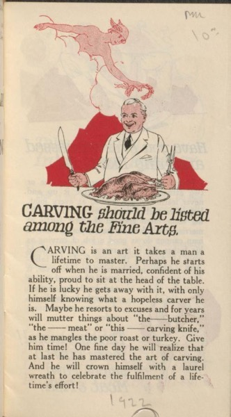 Historical Cooking Books - 59 in a series - The fine art of carving by Sheet Metal Products Co. of Canada (1922)