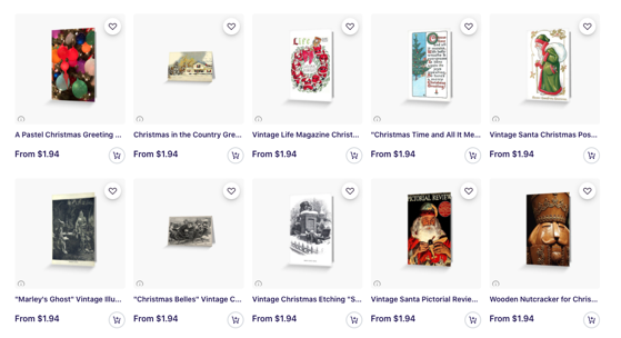 Pssst! - Dreaming of the Christmas Holidays Already? My Vintage and Modern Christmas Cards Are Now Avallable