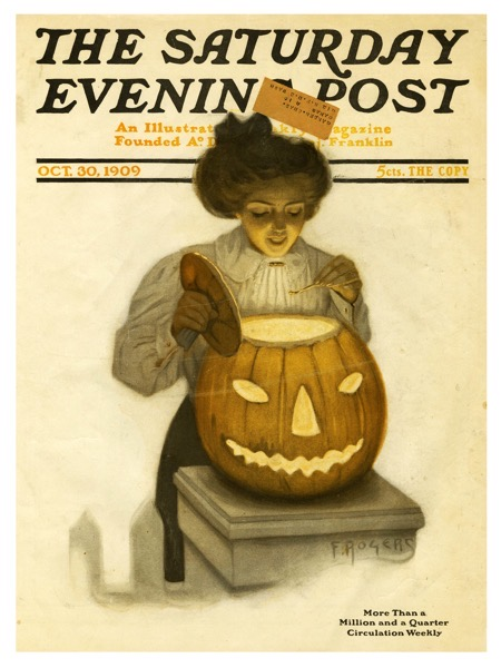Halloween 2020 - 38 in a series - Lighting the Jack O' Lantern, Saturday Evening Post Magazine Cover, 1909
