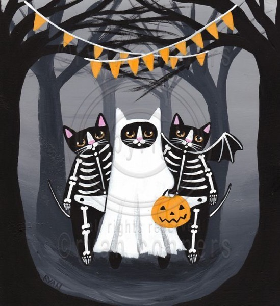 Halloween 2020 - 40 in a series - The Halloween Gang Whimsical Cat Original Folk by KilkennyCatArt