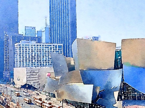 Walt Disney Concert Hall, Los Angeles in Watercolor via Instagram