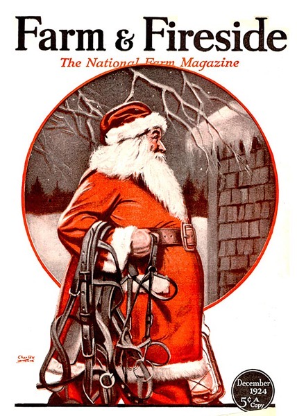 Order Now! Vintage Santa Farm & Fireside Magazine Cover (1924) Christmas Cards from Douglas E. Welch Design and Photography [For Sale]