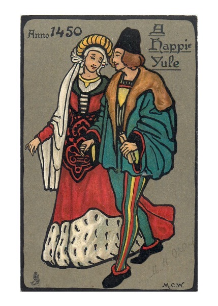 """Order Now! Vintage """"Anno 1450, A Happie Yule"""" Christmas Postcard (1904) Christmas Cards from Douglas E. Welch Design and Photography [For Sale]"""