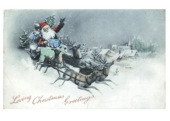 Order Now! Vintage Santa Claus On His Sleigh Postcard (1904) Christmas Cards from Douglas E. Welch Design and Photography [For Sale]