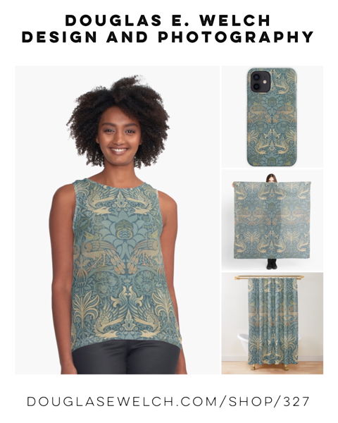 New Design: Vintage Peacock and Dragon Textile from Art Institute Chicago Collection on Tops, iPhone Cases, Scarves, and More from Douglas E. Welch Design and Photography [For Sale]