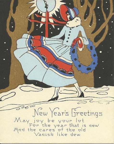 New Year's 2021 - 5 in a series - Vintage New Year's Card