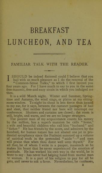 Historical Cooking Books - 86 in a series - Breakfast, Luncheon, And Tea (1875) by Marion Harland