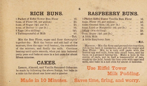 Historical Cooking Books - 84 in a series - 30 good recipes for using Eiffel Tower Bun Flour (1880)