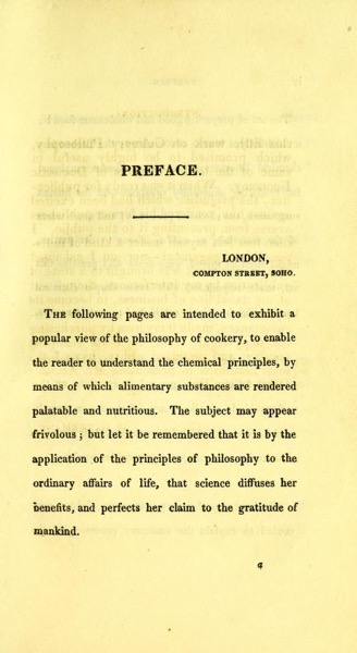 Culinary chemistry : Exhibiting The Scientific Principles Of Cookery by Friedrich Christian Accum (1821) Preface