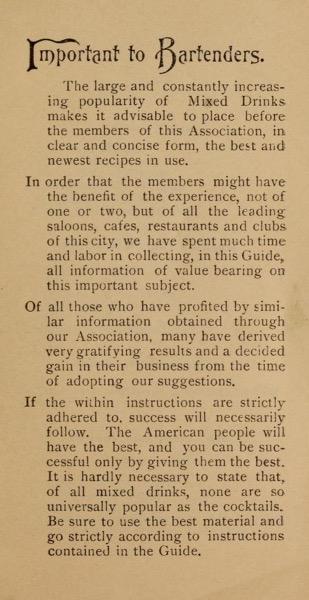 Historical Cooking Books - 89 in a series - Official hand-book and guide by Bartenders' Association of New York City (1895)