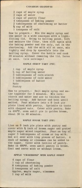 Historical Cooking Books - 93 in a series - Maple recipes by Québec Department of Agriculture. Maple Products Division (19??) Recipe Page
