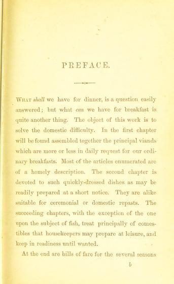 Historical Cooking Books - 97 in a series - The breakfast book : a cookery-book for the morning meal, or, Breakfast-table comprising bills of fare, pasties, and dishes adapted for all occasions (1865)