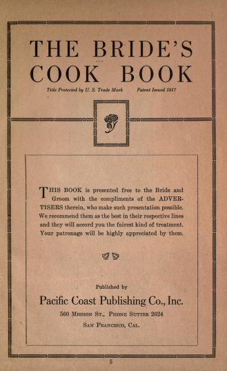 Historical Cooking Books - 99 in a series - The bride's cook book (1918?) by Edgar William Briggs