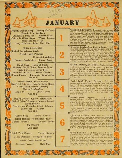 Historical Cooking Books - 101 in a series - The dinner calendar (1915) by Fannie Merritt Farmer