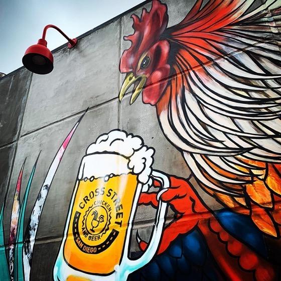 Mural at Cross Street Chicken and Beer in San Diego via Instagram