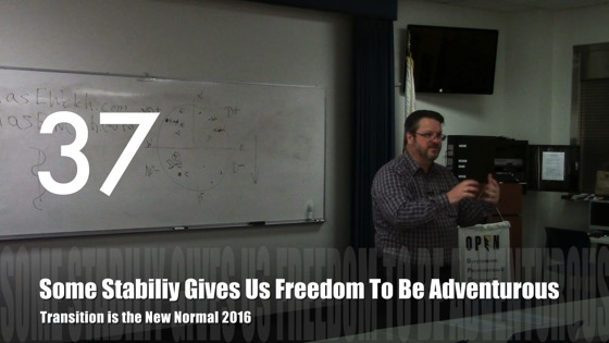 Some Stability Gives Us Freedom To Be Adventurous from Transition is the New Normal 2016