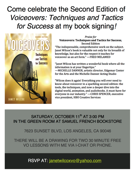 Event: Voiceovers: Techniques and Tactics for Success Book Signing