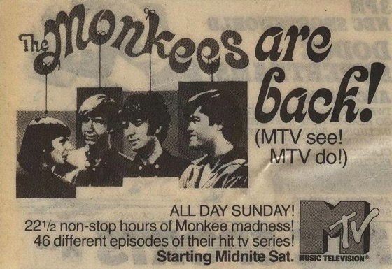 1986 MTV Monkees marathon ad from TV Guide