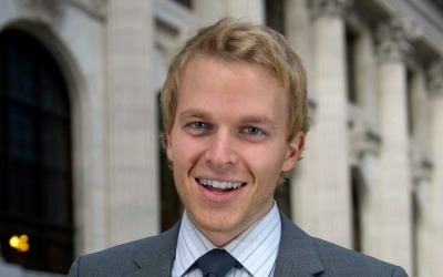 NEW YORK CITY - DECEMBER 16: Rhodes Scholar and current Special Adviser to the Secretary of State for Global Youth, Ronan Farrow, poses on the steps of the New York City Public Library on December 16, 2011 in New York Cityy. (Photo by Ann Hermes / The Christian Science Monitor via Getty Images)