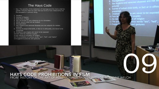 Hays Code Prohibitions in Film from A History of the Art of Adaptation