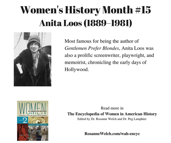 Women's History Month - 15 in a series - Anita Loos