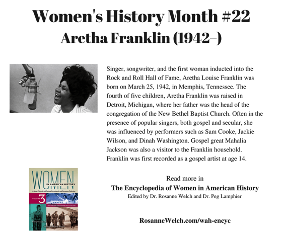 Women's History Month – 22 in a series – Aretha Franklin