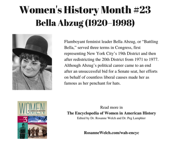 Women's History Month – 23 in a series – Bella Abzug