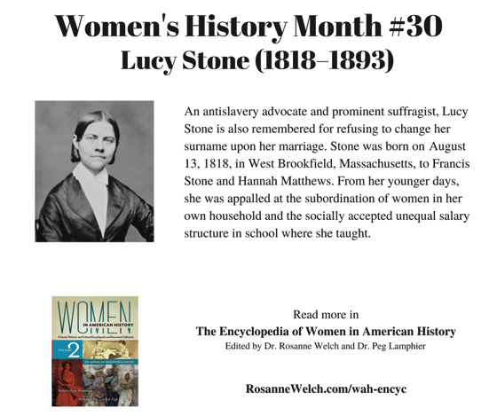 Women's History Month – 30 in a series – Lucy Stone