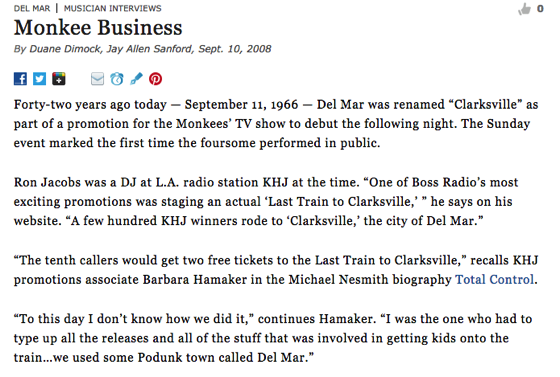 From The Research Vault:  Monkee Business. San Diego Reader, Dimock, Duane and Sanford, Jay Allen. (2008, Sept. 10).