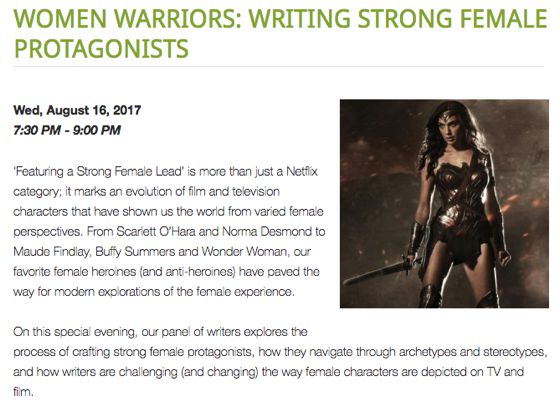 Dr. Rosanne Welch Moderates WGA Panel: Women Warriors: Writing Strong Female Protagonists - August 16, 2017