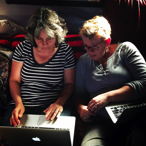 "Peg Lamphier @peglamphier and I working on our next talk, ""The Last Lecture"""
