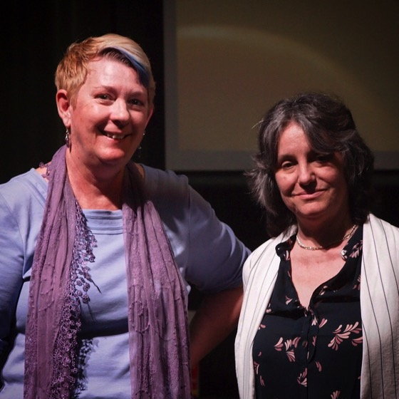 "Dr. Peg Lamphier and Dr. Rosanne Welch before presenting their talk, ""Why this should be the last lecture you should sit through!"" as part of the Last Lecture Series at Cal Poly Pomona."