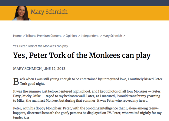 From The Research Vault: Yes, Peter Tork of the Monkees can play by Mary Schmich, June 12, 2013