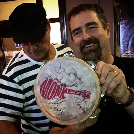 "Eric ""OzMonkeeMan"" shows off his vintage Monkees tambourine at the preconcert #monkees meetup in Downtown LA."