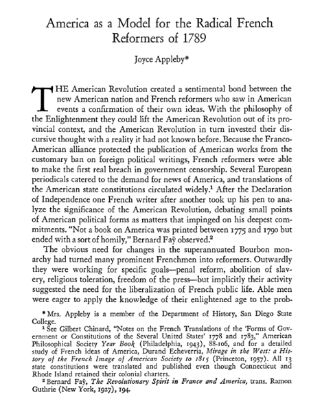 More On Mazzei: America as a Model for the Radical French Reformers of 1789