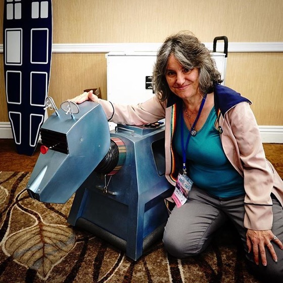 Rosanne with K9 from Doctor Who built by Steve Roberts at San Diego WhoCon 2018 via Instagram