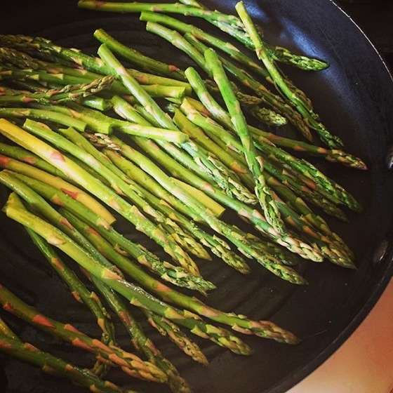 A lovely bunch of asparagus grilling for my lunch via Instagram