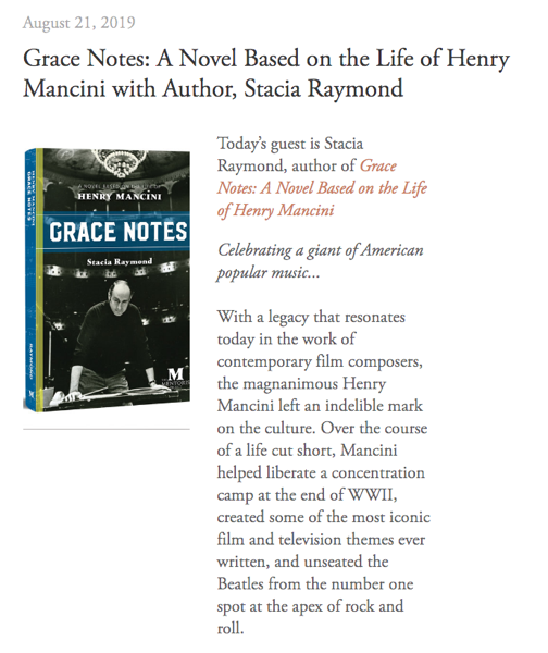 Mentoris Project Podcast: Grace Notes: A Novel Based on the Life of Henry Mancini with Author, Stacia Raymond [Audio]