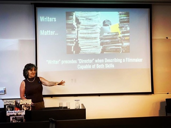 "Presenting my talk ""How the chaos of collaboration in the writer's room created the golden age of television"" at the Screenwriting Research Conference in Porto, Portugal"