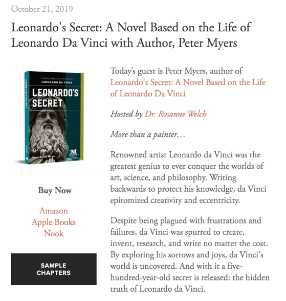Mentoris Project Podcast: Leonardo's Secret: A Novel Based on the Life of Leonardo Da Vinci with Author, Peter Myers