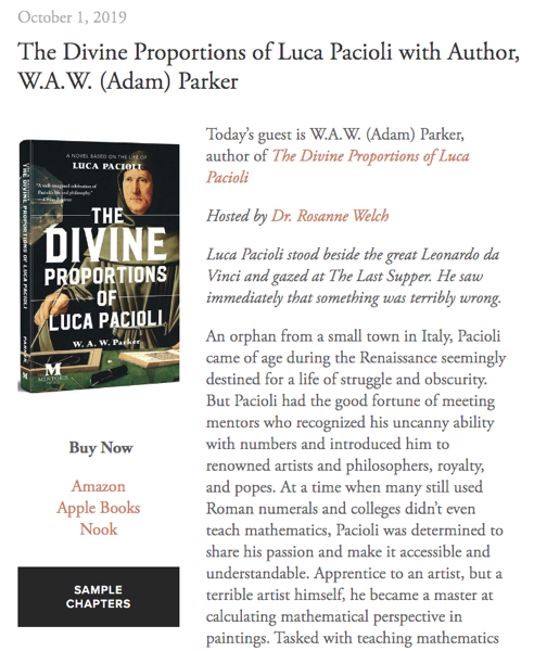 Mentoris Project Podcast: The Divine Proportions of Luca Pacioli with Author, W.A.W. (Adam) Parker [Audio]