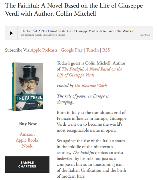 Mentoris Project Podcast: The Faithful: A Novel Based on the Life of Giuseppe Verdi with Author, Collin Mitchell
