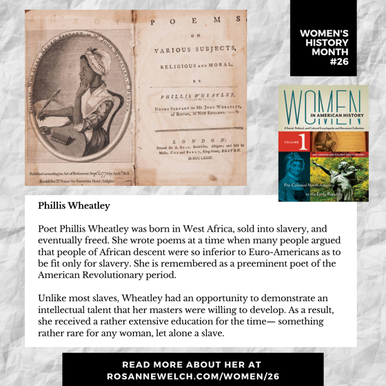 Women's History Month 26: Phillis Wheatley