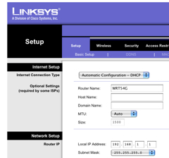Linksys Router Setup Page