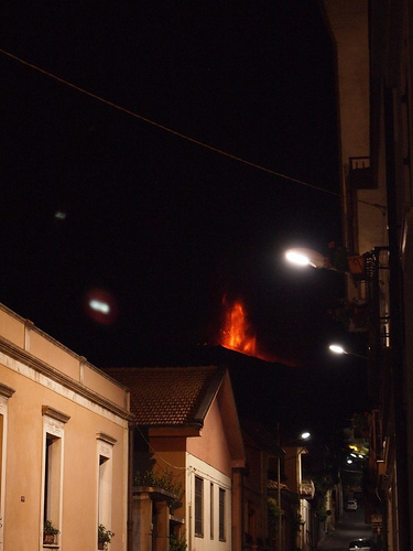 Photo: Etna Eruption seen from town in Nicolosi