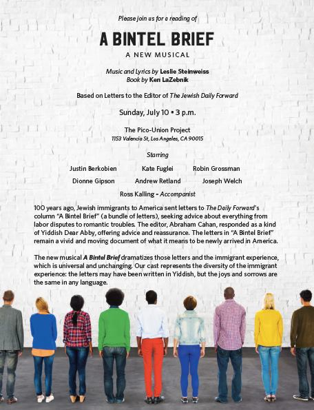 Event: A Bintel Brief – A New Musical by Ken LaZebnik and Leslie Steinweiss – Sunday, July 10, 2016 @ 3 pm
