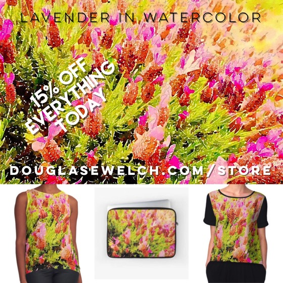 """Lavender in Watercolor"" Clothing, Bags, Smartphone covers and much more! Buy today and get 15% Off Everything!"